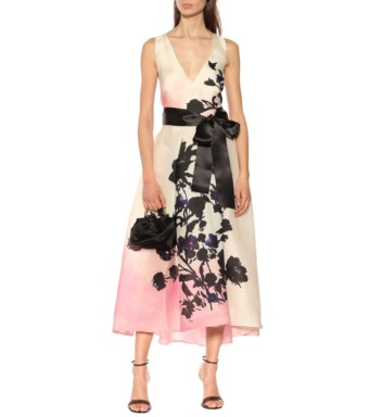 MONIQUE LHUILLIER Silk Organza Midi Pink / Floral Printed Dress