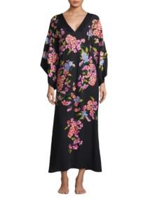 NATORI Hanami Silk Kimono Black / Floral Printed Dress