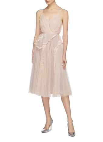 NEEDLE & THREAD 'Ballet Couture' Ruffle Lace Trim Tulle Light Pink Dress