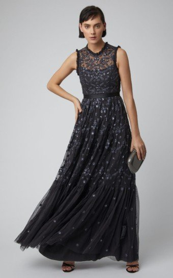 NEEDLE & THREAD Clover Floral-Embroidered Tulle Black Gown