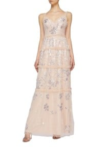 NEEDLE & THREAD 'Floral Gloss' Ruffle Trim Sequin Tulle Sleeveless Pink / Silver Gown
