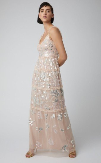NEEDLE & THREAD Sequin-Embellished Georgette Pink Gown