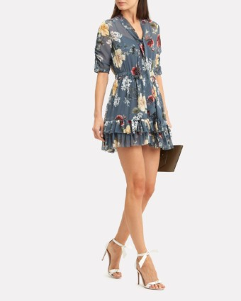 NICHOLAS Slate Mini Slate Blue / Floral Printed Dress