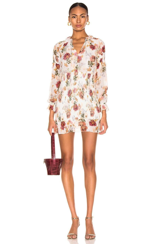 NICHOLAS Smocked Mini White / Floral Printed Dress