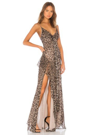 NICHOLAS Tie Front Maxi Leopard Printed Brown Dress