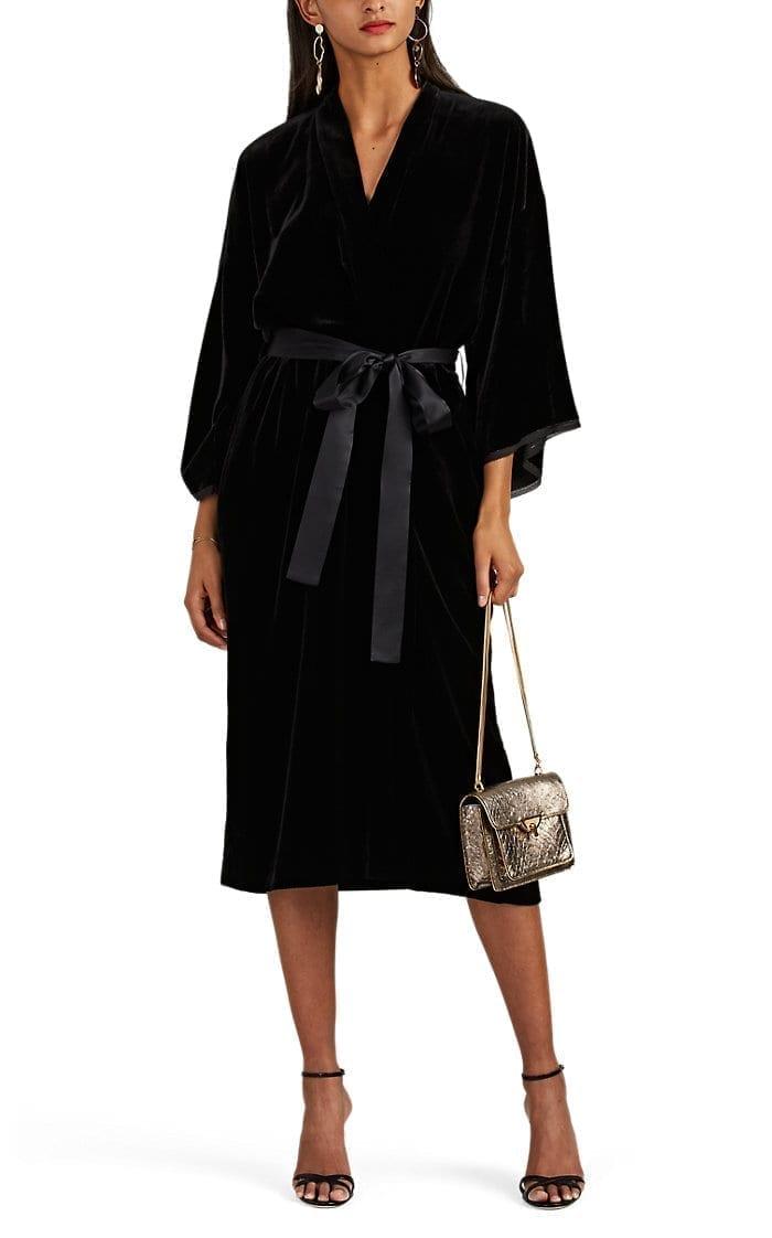 NILI LOTAN Rey Velvet Kimono Black Dress