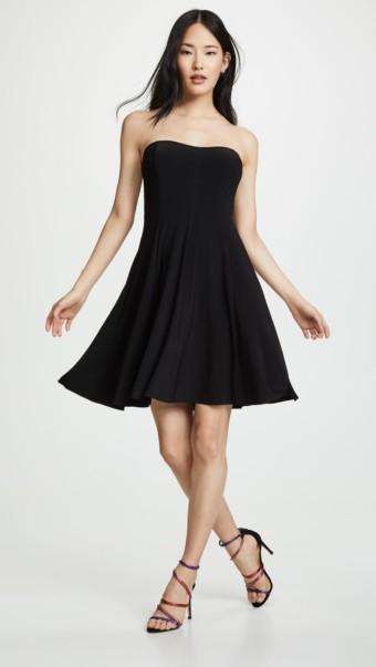 NORMA KAMALI Strapless Flared Mini Black Dress