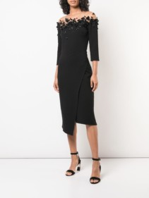 OSCAR DE LA RENTA Butterfly Effect Appliqués Black Dress