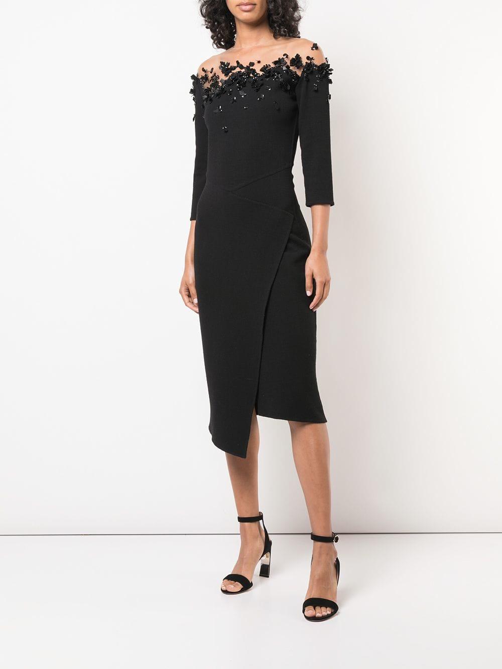 OSCAR DE LA RENTA Butterfly Effect Appliqués Black Dress