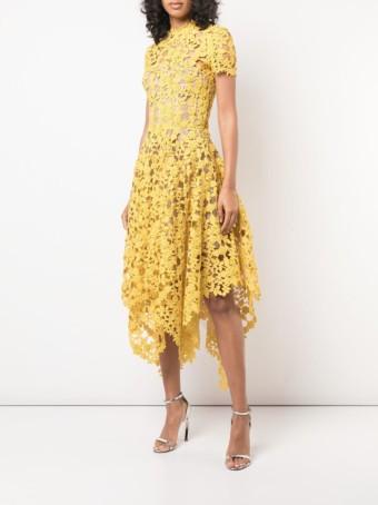 OSCAR DE LA RENTA Floral Crochet Yellow Dress