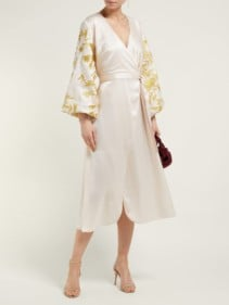 OSMAN Floral-embroidered Satin Wrap Ivory Dress