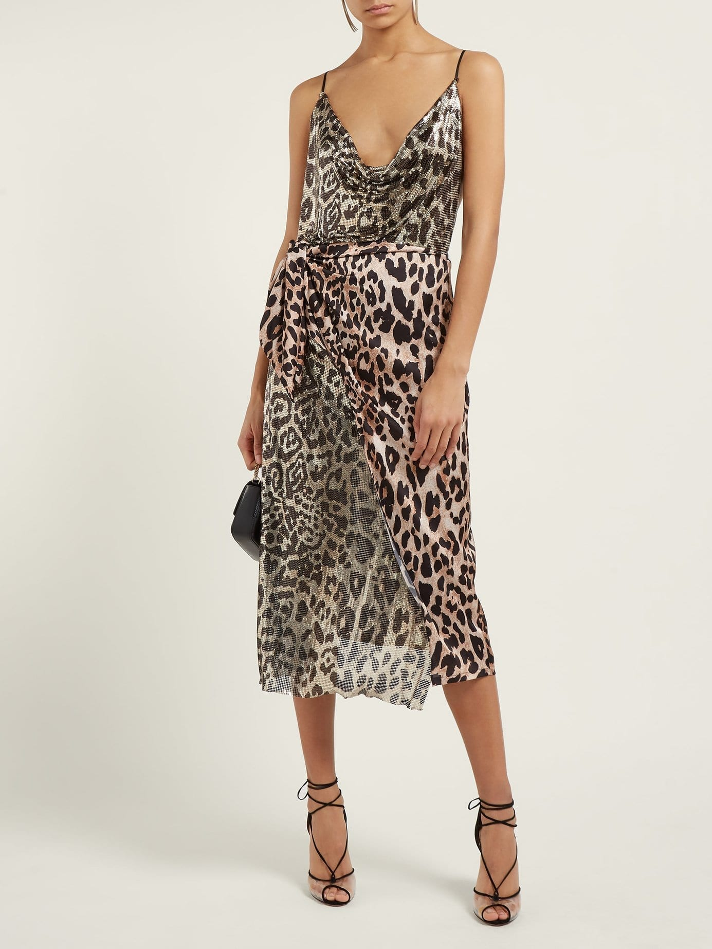 PACO RABANNE Leopard Chain-mail And Satin Multicolored Dress. PACO RABANNE  Leopard Chain-mail And Satin Multicolored Dress 880aee92b