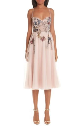 PATBO Beaded Floral Bustier Tea Length A-Line Blush Dress