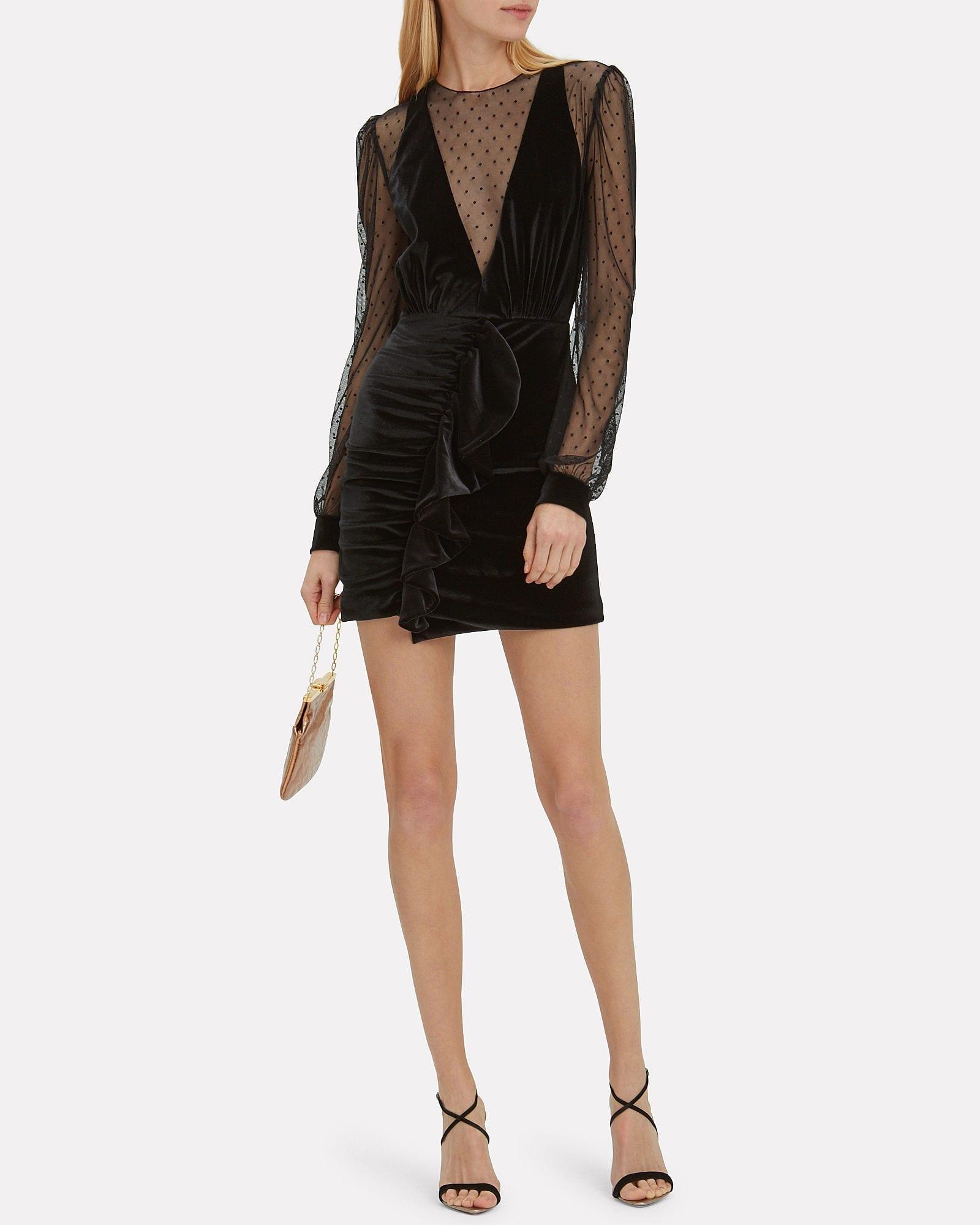 PATBO Velvet Tulle Mini Black Dress