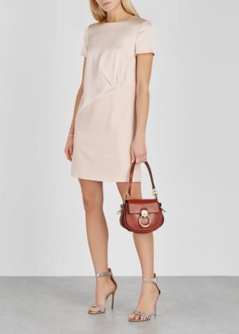 PAULE KA Blush Satin-panelled Dress