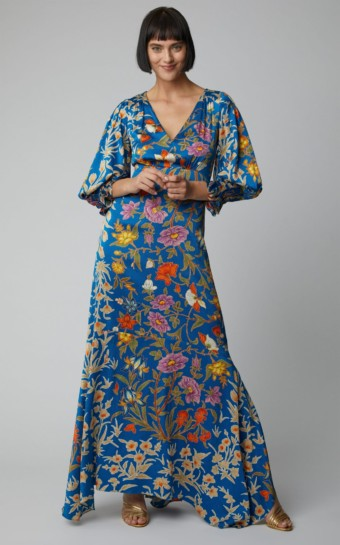 PETER PILOTTO Balloon-Sleeve Silk-Satin Blue / Floral Printed Gown