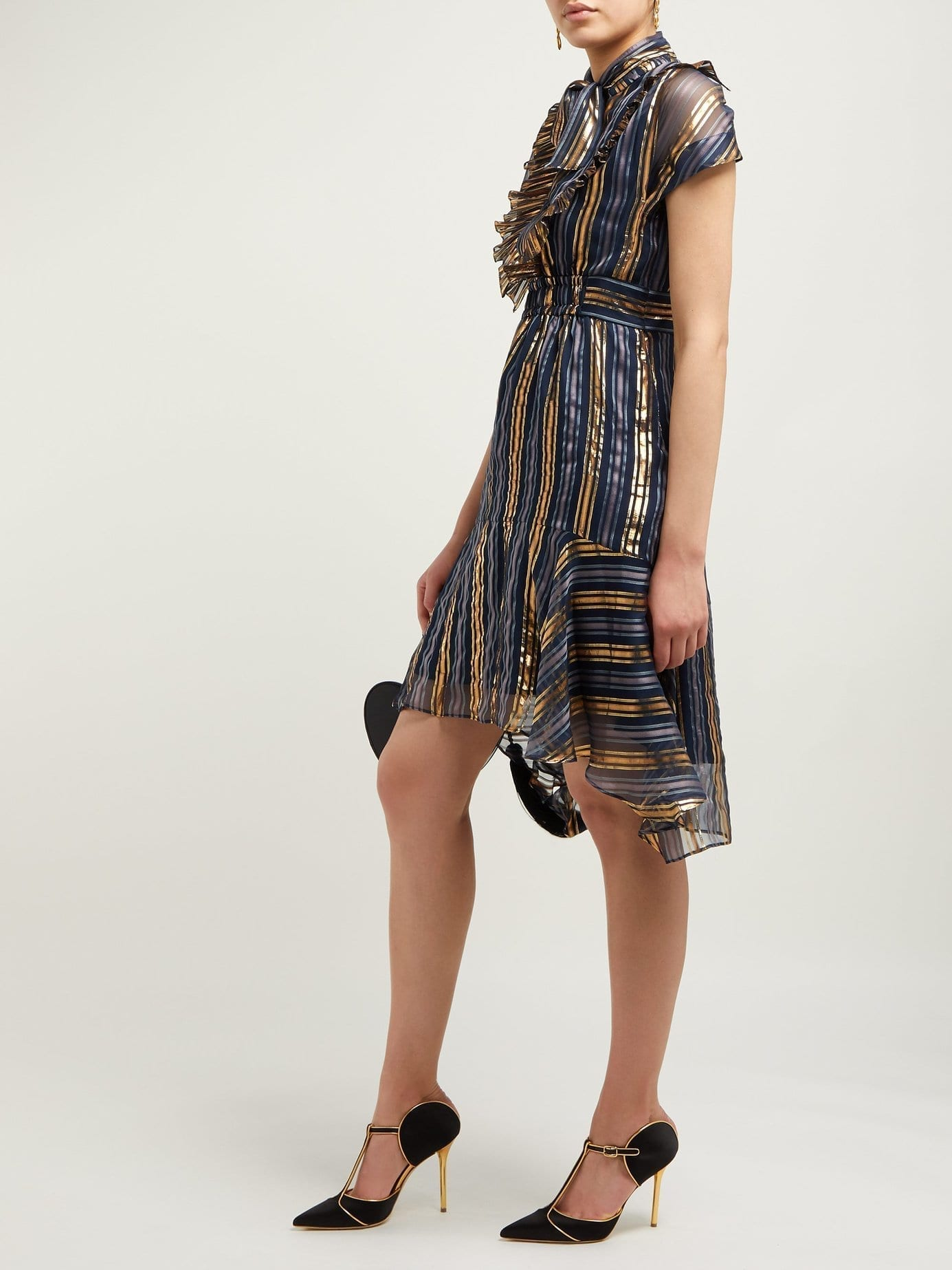 PETER PILOTTO Metallic Striped Silk-blend Chiffon Gold Dress