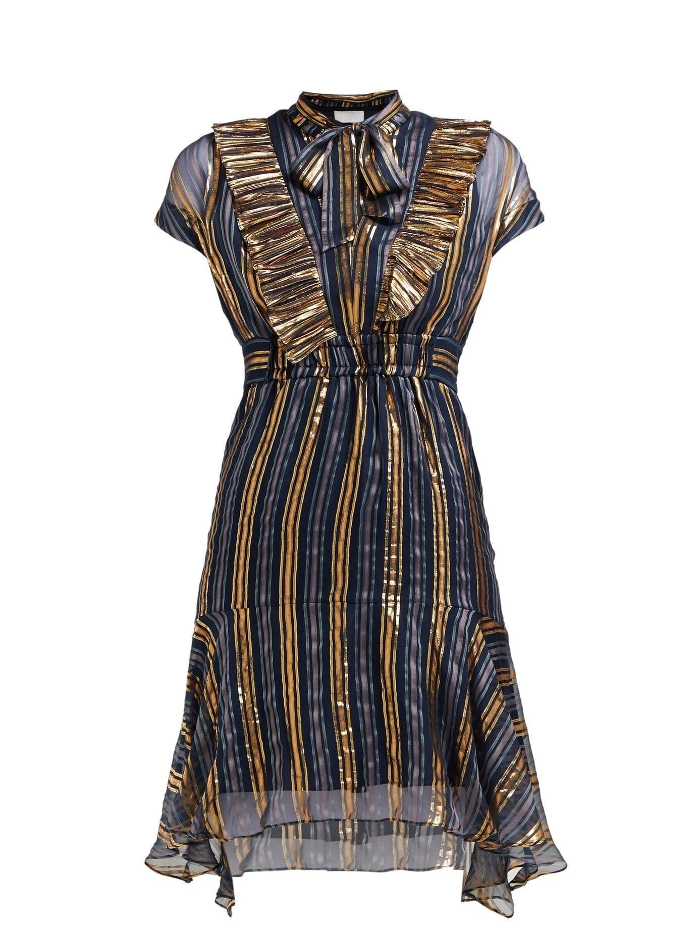 PETER PILOTTO Metallic Striped Silk-blend Chiffon Gold Dress
