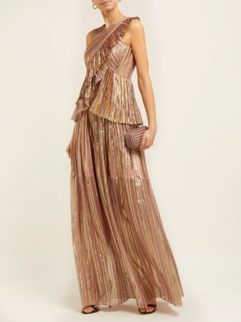 PETER PILOTTO Striped Lamé-chiffon Pink Gown