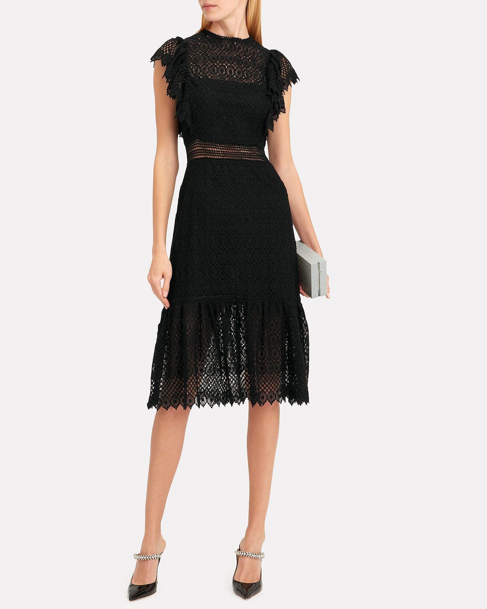 PHILOSOPHY DI LORENZO SERAFINI Crochet Black Dress