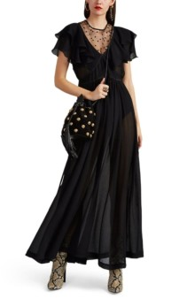 PHILOSOPHY DI LORENZO SERAFINI Ruffle Tulle-Inset Double Crepon Maxi Black Dress