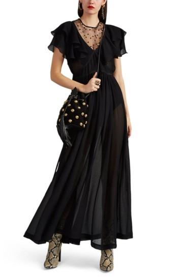 PHILOSOPHY DI LORENZO SERAFINI Ruffle Tulle-Inset Double Crepon Maxi Black Dress