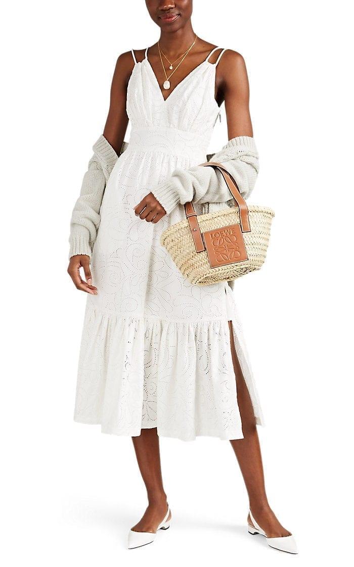 PRABAL GURUNG Cotton Eyelet Sun White Dress