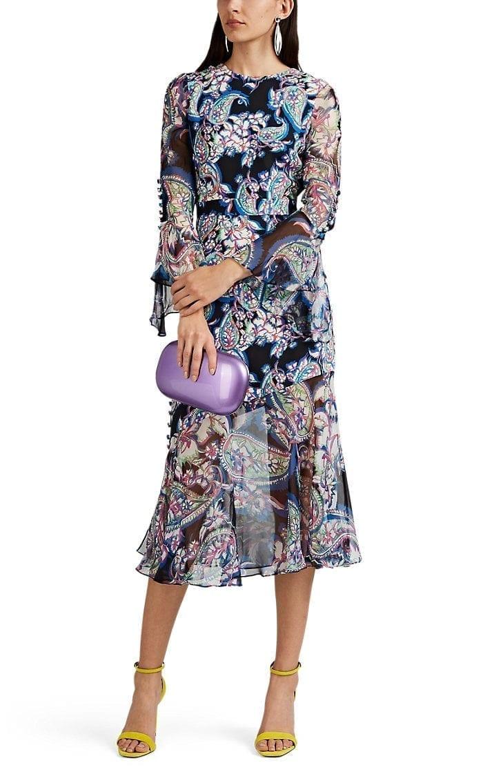 PRABAL GURUNG Rania Paisley Silk Crepe Black / Multicolored Dress