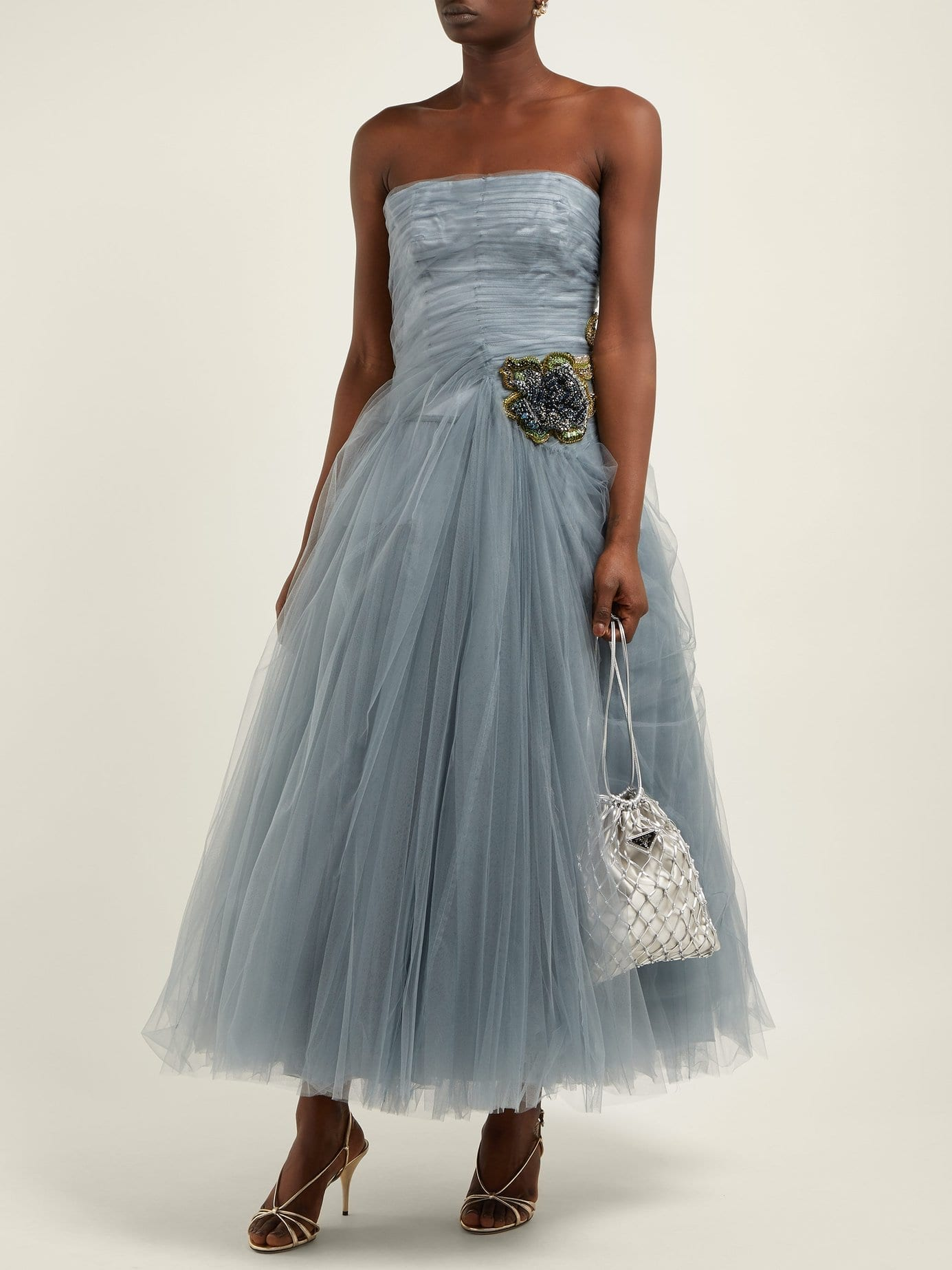 PRADA Crystal-embellished Tulle Blue Gown