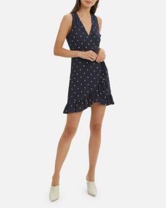 RAILS Madison Polka Dot Wrap Navy / White Dress
