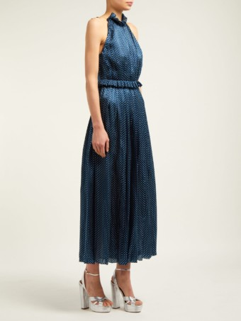 RAQUEL DINIZ Aiko Polka-dot Silk-satin Navy Dress