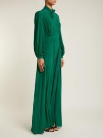 RAQUEL DINIZ Armonia Pussy Bow Silk Crepe Green Dress
