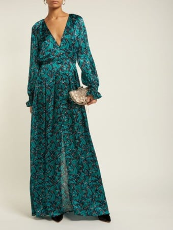 RAQUEL DINIZ Palm And Leopard-print Silk Crepe De Chine Green Gown
