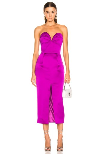 RASARIO Strapless Corset Midi Purple Dress