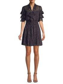 REBECCA TAYLOR Abstract Polka Dot Ruffle Sleeve Mini Black Dress