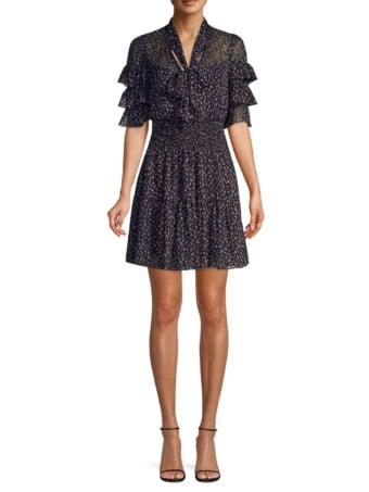 REBECCA TAYLOR Abstract Polka Dot Ruffle Sleeve Mini Black Dress