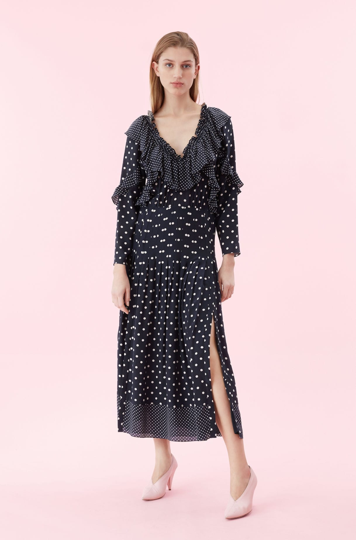 REBECCA TAYLOR Dot Print Ruffle Navy Dress