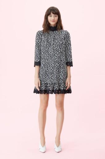 REBECCA TAYLOR La Vie Le Jaguar Embroidered Black Dress