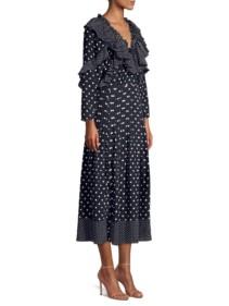 REBECCA TAYLOR Long-Sleeve Ruffle Polka Dot Silk A-Line Midi Navy Dress