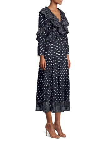 REBECCA TAYLOR Long-Sleeve Ruffle Polka Dot Silk A-Line Midi Navy Dress