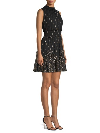 REBECCA TAYLOR Metallic Polka Dot Sleeveless Smocked Waist A-Line Black Dress