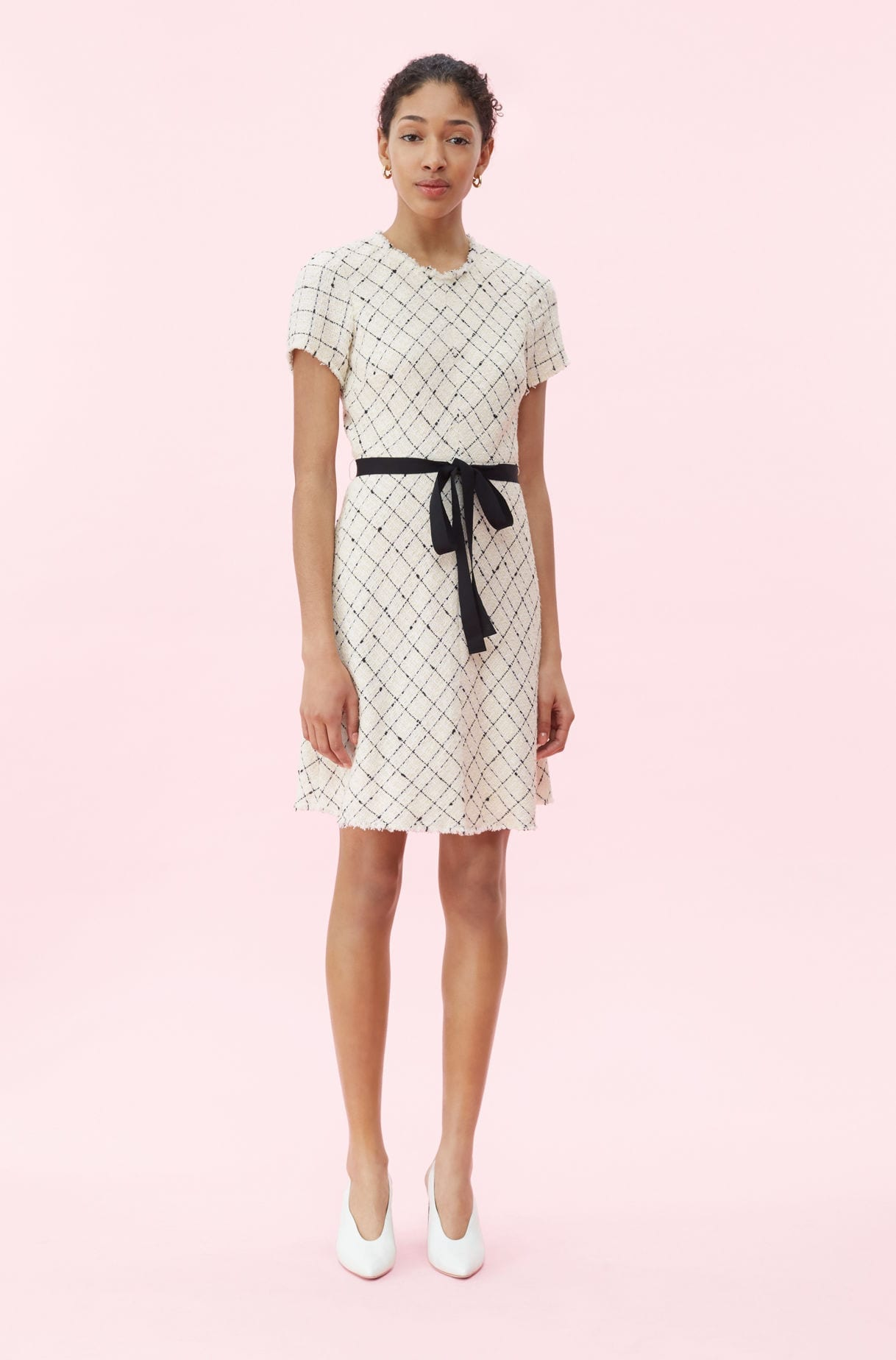 REBECCA TAYLOR Plaid Tweed Cream Dress