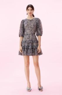 REBECCA TAYLOR Selene Paisley Voile Bleu Dress