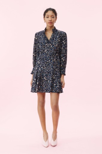 REBECCA TAYLOR Vivianna Vine Jacquard Silk Navy Dress