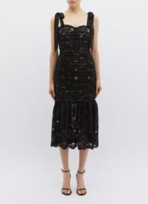 REBECCA VALLANCE 'Betty' Tie Shoulder Ruched Chantilly Lace Mermaid Black Dress