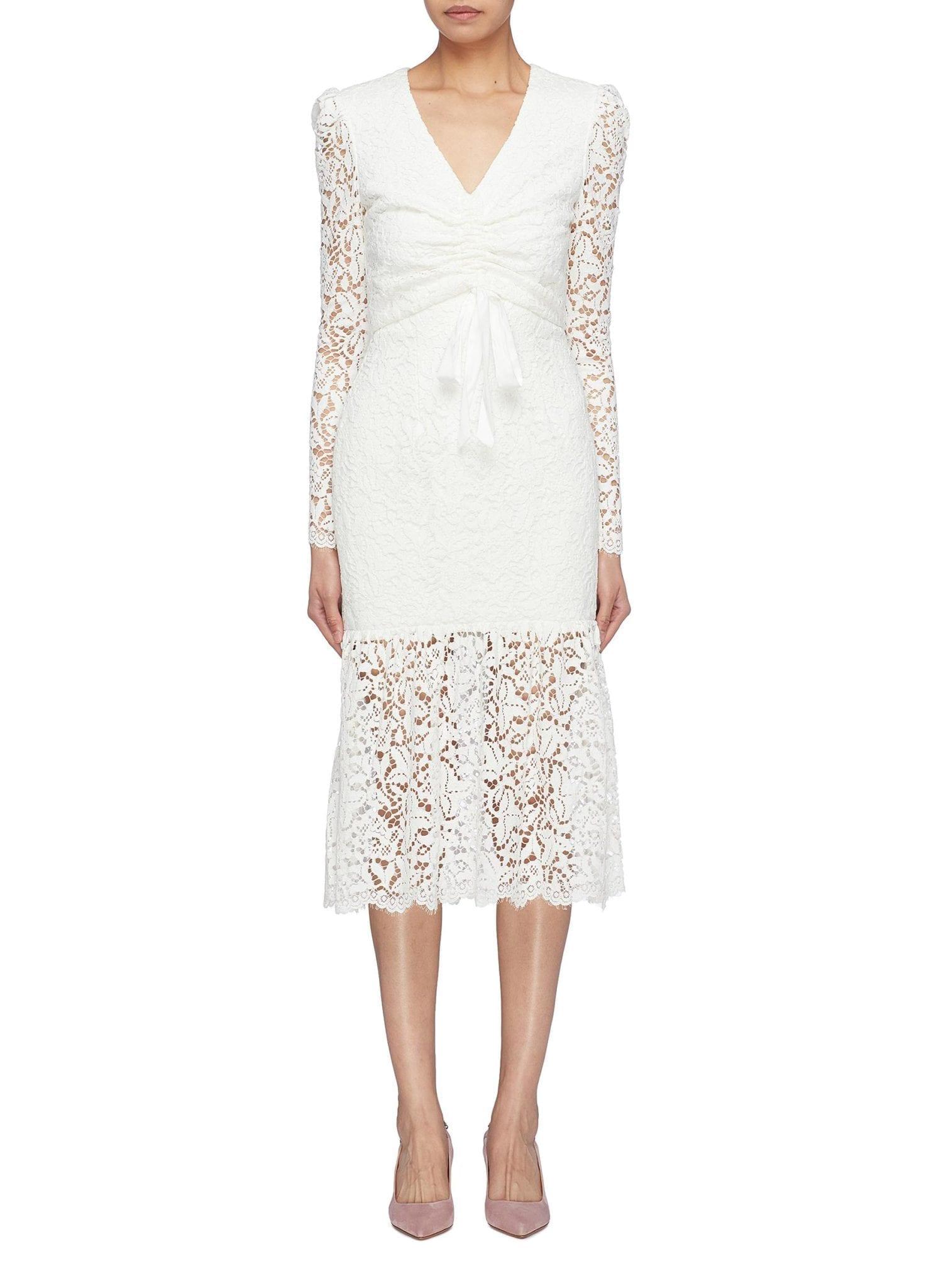 REBECCA VALLANCE 'Le Saint' Ruched Tie Front Guipure Lace Mermaid White Dress