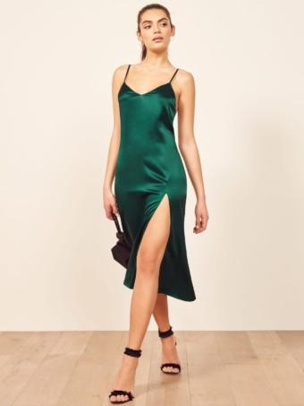 REFORMATION Britten Green Dress