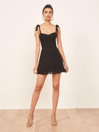REFORMATION Christine Black Dress