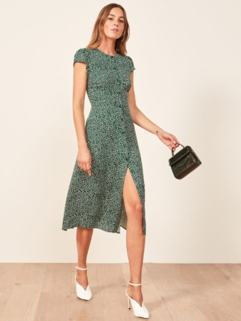 REFORMATION Fauna Green / Floral Printed Dress