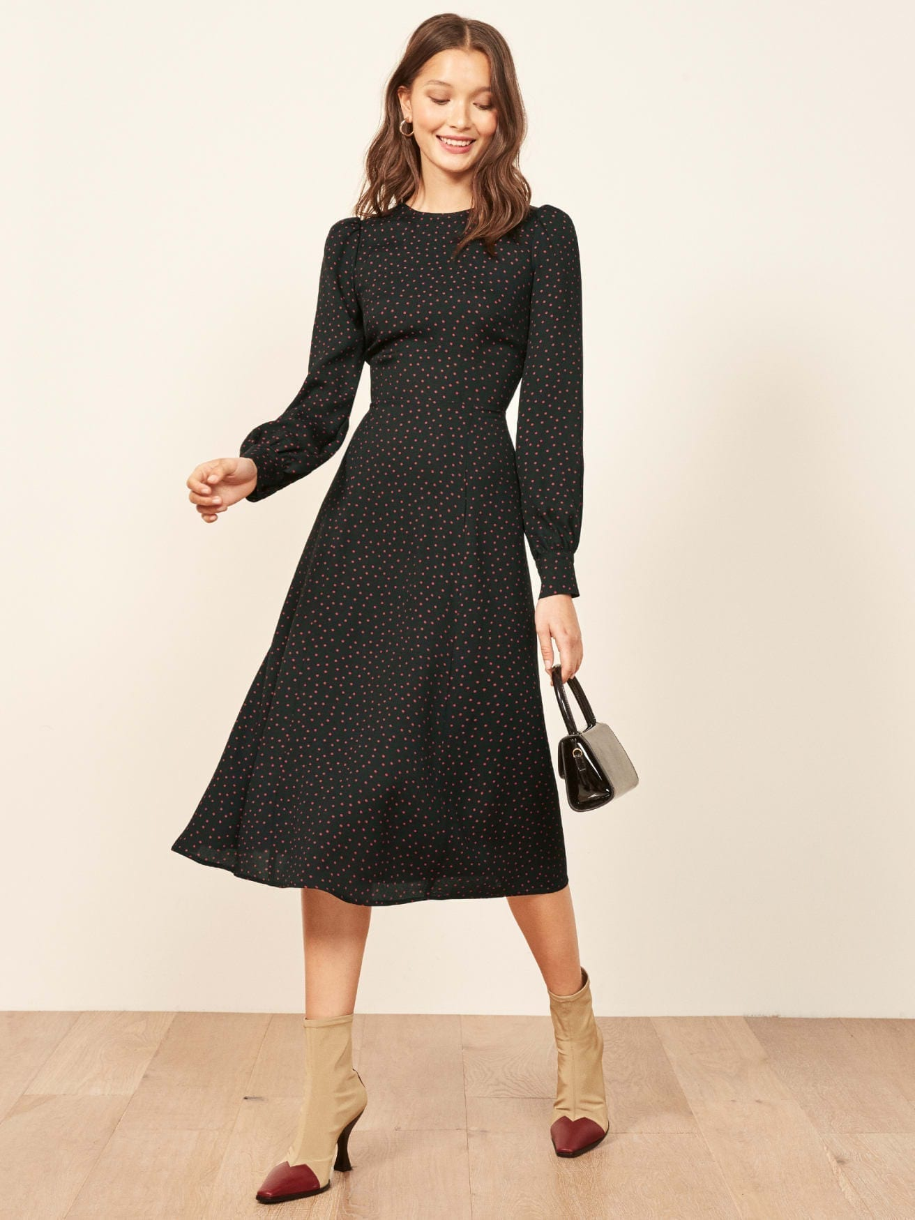REFORMATION Josephine Black Dress